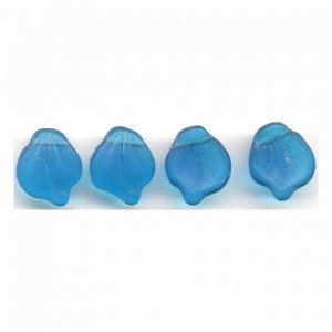 Deep Aqua Blue Matte Glass Leaves Beads Vintage Style
