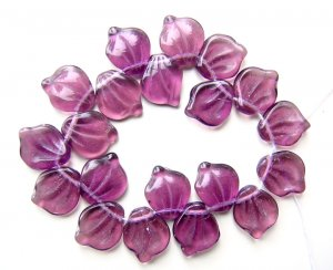 Purple Glass Leaves Beads Vintage Style