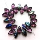 Deep Purple Amethyst Vitrail Leaf Glass Beads