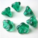 Green 11mm Trumpet Flower Beads Big Size