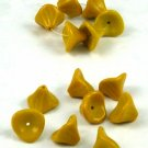 Goldenrod Dark Yellow 3 Petal Glass Flower Beads