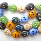 Skull Beads Czech Glass Day of Dead Black Bone Blue Orange Green & Iris