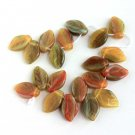 Tutti Fruiti Leaves Leaf Glass Beads 25 Pcs