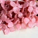 Pink Opaque Glass Leaves Beads Vintage Style Spring Summer Color