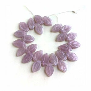 Lilac Opal Glass Leaves Leaf Beads