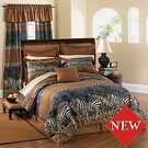 KING Zebra Animal Print Complete Comforter Bed Set NEW