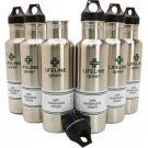 6 pk 27oz Lifeline Green Stainless Steel Water Bottles