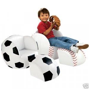 Kids Sports Soccer Ball Chair & Ottoman Set