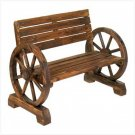 NEW! WAGON WHEEL PARK BENCH! Rustic Fire Burnt Finish!