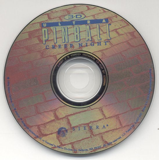 3-D Ultra Pinball CREEP NIGHT 1996 Sierra PC CD Game