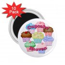 CUPCAKE HEAVEN 10 pack of 2.25 inch Magnets Locker Party favors 26994690