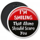 HUMOROUS COLOSSAL button pinback 6 inch backpack pin I'M SMILING