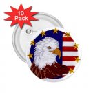AMERICAN Flag Bald Eagle 10 pack of 2.25 inch pinback buttons backpack pins 27008586