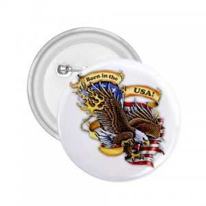 BORN IN THE USA 2.25 inch Bald Eagle pinback button backpack pin 27008599
