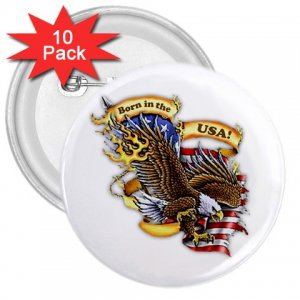 BORN IN THE USA 10 pack of 3 inch pinback buttons backpack pins 27008605