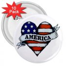 COUNTRY AMERICAN 10 pack of 3 inch pinback buttons backpack pins 27008597