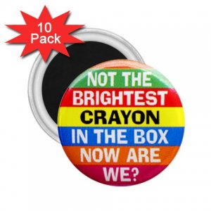10 pack of 2.25 inch Magnets Hilarious NOT THE BRIGHTEST CRAYON Locker Party favors 26999265