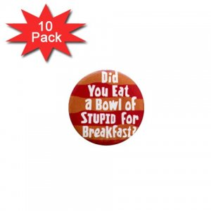 Hilarious BOWL OF STUPID 10 pack of 1 inch pinback buttons backpack pins 26999283