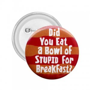2.25 inch  Hilarious BOWL OF STUPID pinback button backpack pin 26999280