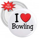 10 pack of 3 inch I LOVE BOWLING pinback buttons backpack pins 27018100