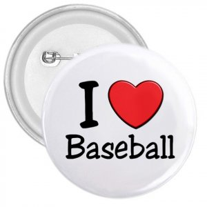 3 inch I LOVE BASEBALL pinback button backpack pin 27018080