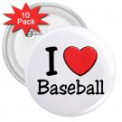 10 pack of 3 inch I LOVE BASEBALL pinback buttons backpack pins 27018084
