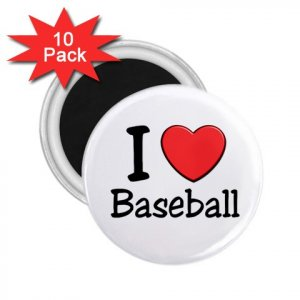 10 pack of 2.25 inch Magnets I LOVE BASEBALL Locker Party favors 27018083