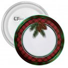3 inch CHRISTMAS HOLIDAY WREATH pinback button NAME pin 27088223