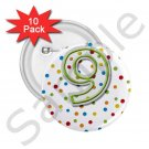 Name Pins AGE 9 PARTY favors 10 pack of 2.25 inch pinback BACKPACK pin 27120655