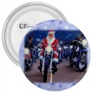 3 inch SANTA ON A HARLEY HOG pinback button backpack pin 27183948