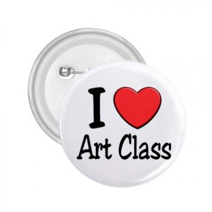 2.25 inch  I LOVE ART CLASS pinback button backpack pin 27018061