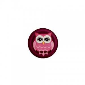 SINGLE Maroon Owl Magnet 1 inch button Locker magnets