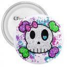 3 inch Goth Skull Girl pinback button backpack pin 27280546