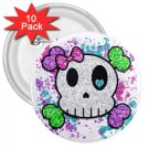 10 pack of 3 inch Goth Skull Girl pinback buttons backpack pins 27280551