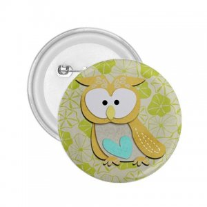 2.25 inch Retro Owl Design pinback button backpack hat pin 27280585