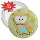 10 pack of 3 inch Retro Owl Design pinback buttons backpack pins 27280592