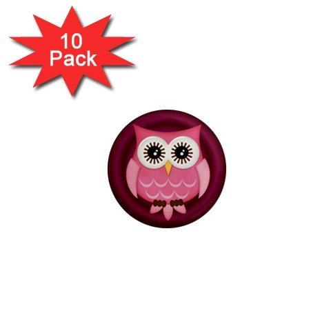 Pink Owl Design 10 pack of 1 inch pinback buttons backpack pins 27280597