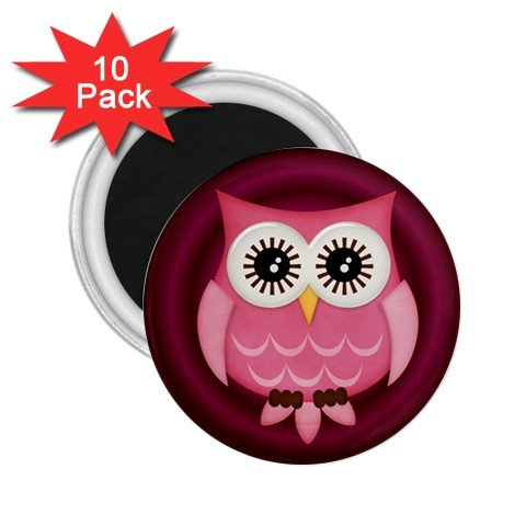 Pink Owl Design 10 pack of 2.25 inch Magnets Locker Party favors 27280600