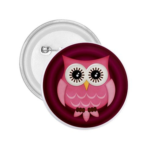 2.25 inch Pink Owl Design pinback button backpack hat pin 27280594