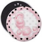 French Pink Poodle COLOSSAL button pinback 6 inch backpack pin