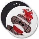 Sock Monkey Face COLOSSAL button pinback 6 inch backpack pin