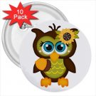 10 pack of 3 inch Owl Design pinback buttons backpack pins 52623953
