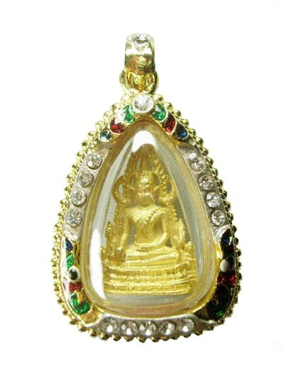 Phra Buddha Chinnarat Kanok frame with Crystral 14k GP
