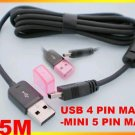 USB 2.0 Cable 4 pin Male to Mini 5 pin Male 1.5m