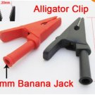 4pcs (2pairs) Alligator Clip to 4mm Banana Jack Insulate Clamp Adapter Red Black