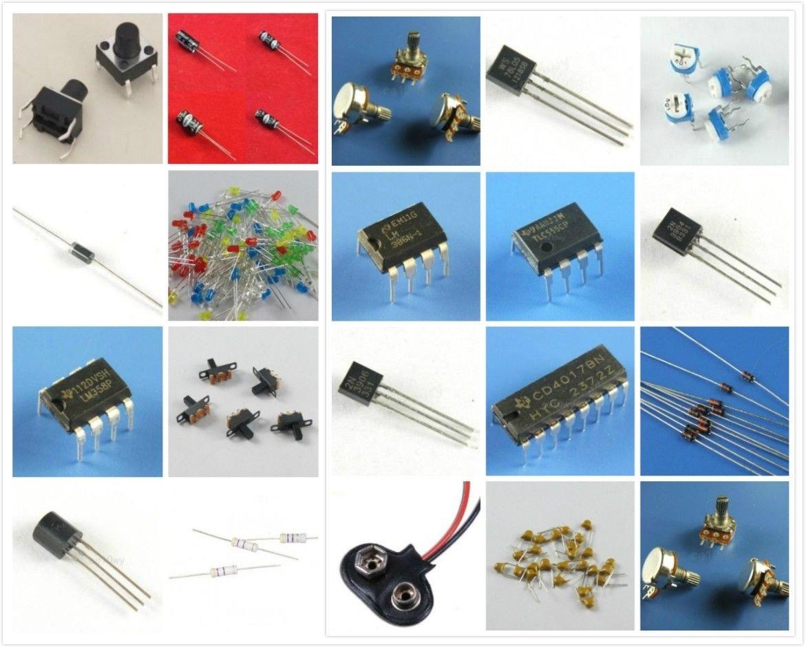 ELECTRONIC PROJECT STARTER KIT / BREADBOARD, OPAMP, REGULATOR, 555 timer, and more