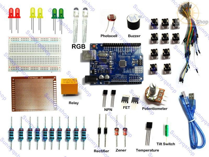 Arduino Starter Kit with Uno R3 Breadboard Jumper cables Senors ATmega328P