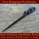 Luxury Solid Ebony Wood Hair Accessories Stick Pin 100% Hand Carved Wood Art #108 - FREE SHIPPING