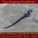 Luxury Solid Ebony Wood Hair Accessories Stick Pin 100% Hand Carved Wood Art #123 - FREE SHIPPING