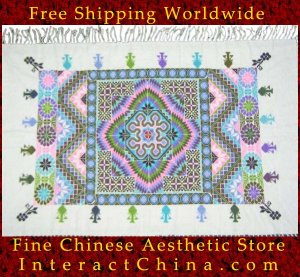 "Hand Cross Stitch Quilt Tapestry Throw 34x60"" Embroidery Textile Sewing Art #138"